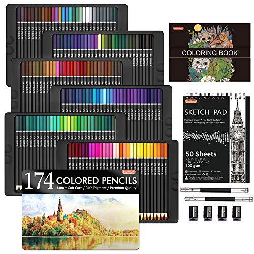 Lápices de colores profesionales de 174 colores, juego de lápices de colores de Shuttle Art con 1 libro para colorear, 1 bloc de bocetos, 4 sacapuntas, 2 extensores de lápiz, perfecto para artistas niños adultos colorear, dibujo
