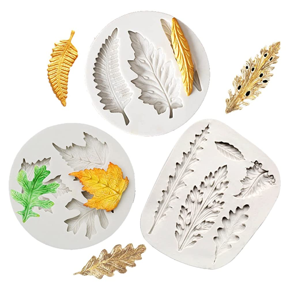 QELEG 3 Set Assorted Fondant Leaf Candy Mold for Sugarcraft Cake Decoration, Cupcake Topper, Polymer Clay, Soap Wax Making Crafting Projects