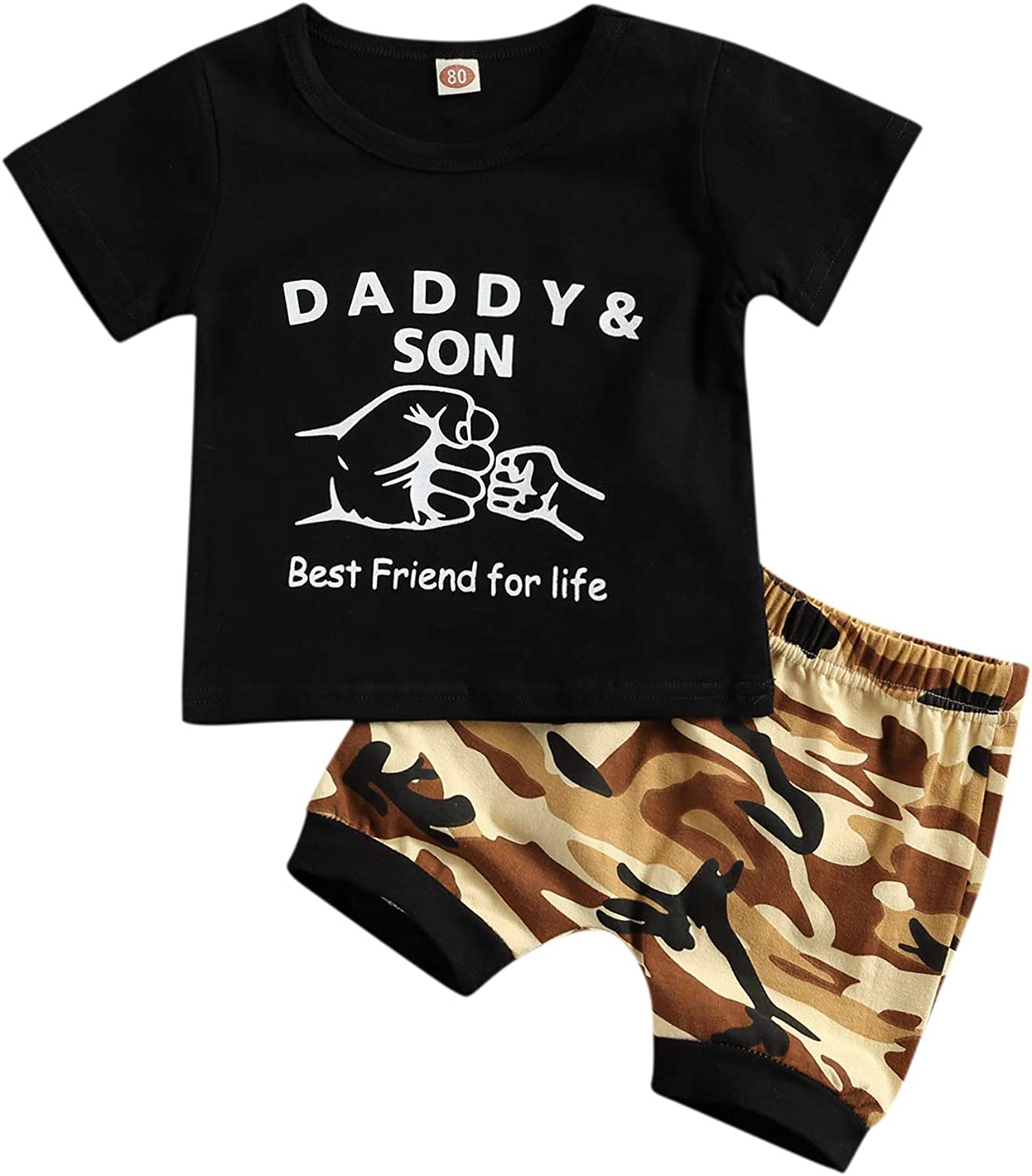 Baby Toddler Boy 2Pcs Summer Clothes Suit, Short Sleeve Pocket T-Shirt Tops and Camouflage Shorts Set Outfit