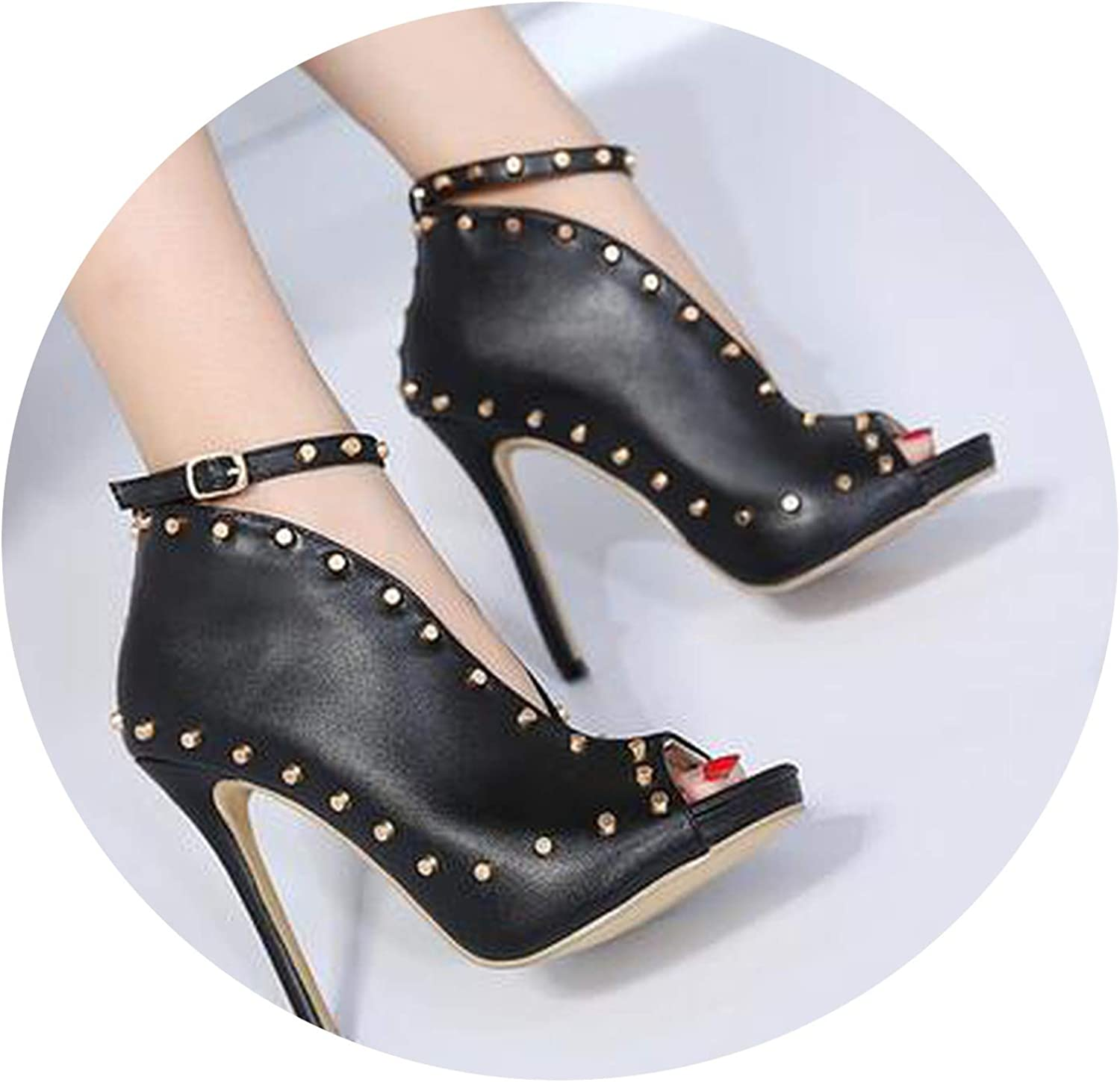 Autumn Women shoes Peep Toe Pumps High Heels shoes Ankle Boots Rivets Buckle Motorcycle Pumps