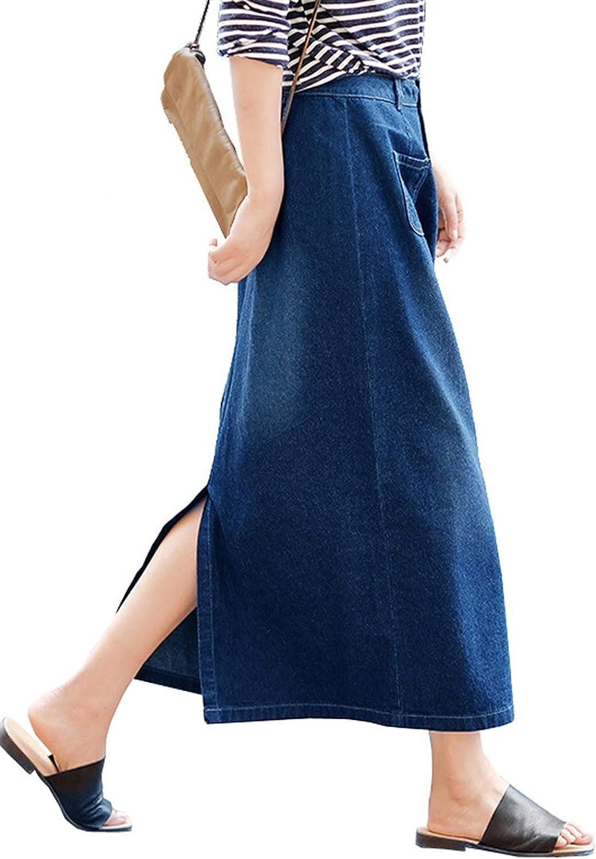 IKIIO Women's Casual Loose Fit Slit Hem Denim Skirt High Waisted A Line Skirts with Pockets