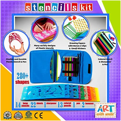 Stencil Drawing Kit for Kids w/ Carry Case - 55 pcs. w/ 280 Stencil Shapes and Colored Pencils - Arts and Crafts for…  
