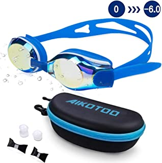 AIKOTOO Swim Goggles,Shortsighted Swimming Goggles Myopic with Prescription Lenses Anti Fog Nose Clip Ear Plugs for Women Kids Men, Swimming Goggles…