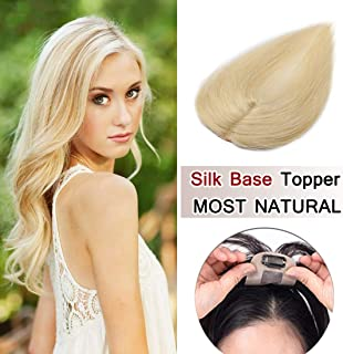 SEGO 100% Density Top Hair Pieces Silk Base Crown Topper Human Hair Clip in Hair Toppers Top Hairpieces for Women with Thinning Hair Gray Hair/Hair Loss#613 Bleach Blonde 6 Inch 15g