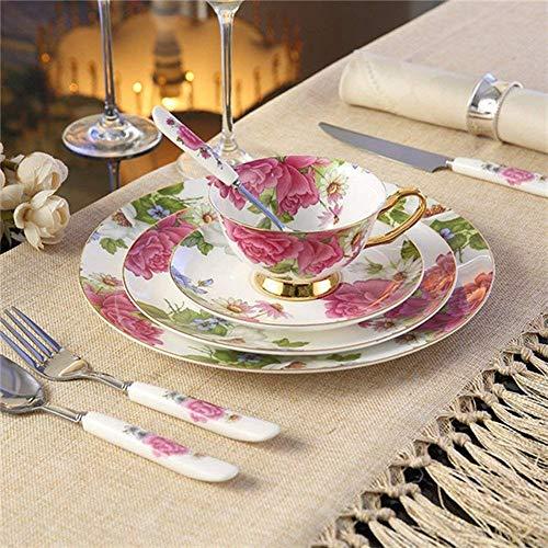Cerámica de 8 piezas de vajilla verde Camellia vajilla con placas de cena, ensalada placas, cena cuchillo, tenedor de...
