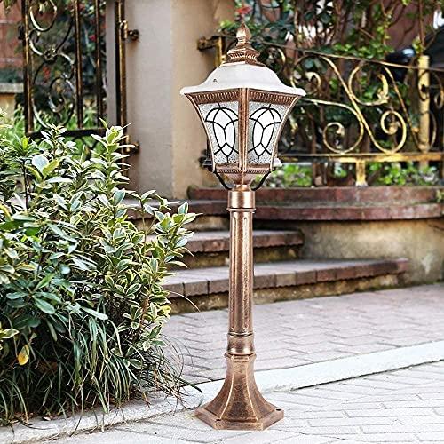 MIAOLIANG Lámpara Retro para césped de jardín al Aire Libre E27 Exterior de Aluminio Villa Patio Paisaje Columna Luz Parque comunitario Calle Camino de Entrada Camino Pilar Poste Lámpara de Poste