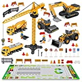 FUNTOK Construction Truck Car Toys Set, Kids Engineering Playset,Tractor, Matchbox Digger, Crane, Dump Trucks, Excavator, Cement, Christmas Birthday Gifts for 3 4 5 6 Years Old Toddlers Boys Children