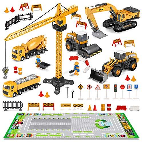 Coches Juguete para Niños, FUNTOK 35 Pcs DIY Desmontar y Ensamblarde Vehículo de Construcción Juguete,Camión de Juguete con Señales de Seguridad Vial,Excavadora,Juguete Educativo para Niños 2 3 4 Años