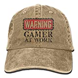 Presock Gorras De Béisbol Cowboy Hat Cap for Men Women Warning ! Gamer at Work