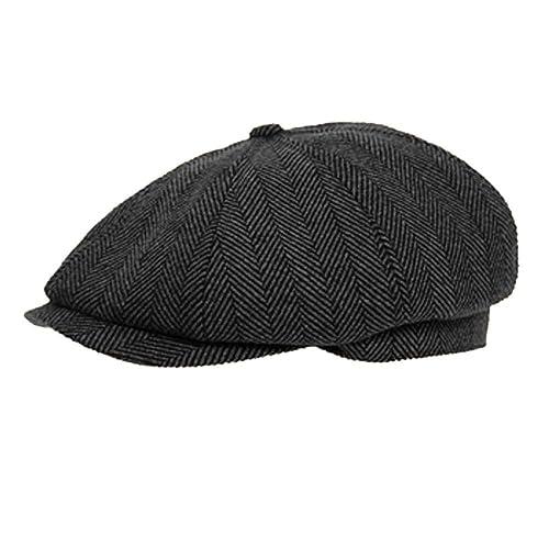 742858c3d89 DARK GREY 8 PANEL HERRINGBONE TWEED CAP