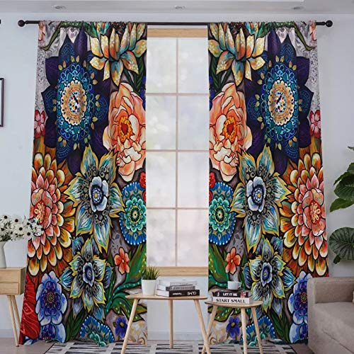 YoKii Boho Floral Blackout Curtains for Bedroom 84-Inch Length 2 Panels, Room Darkening Thermal Insulated Window Curtain Panels Draperies Vintage Flower Patterned (Pairs 52W x 84L, Colorful)