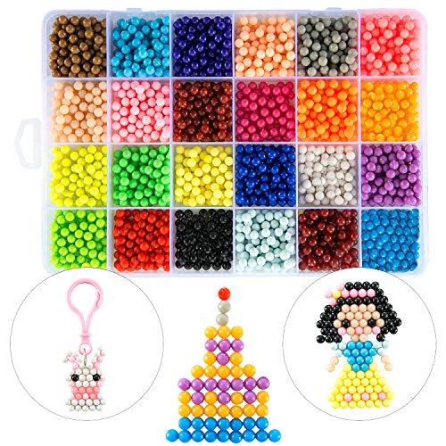 ZWOOS Kit di Perline fusibili Acqua, 2400 Perline 24 Colori Perle da Acqua Mega Bead Refill Beads Giocattoli per Principianti Bambini
