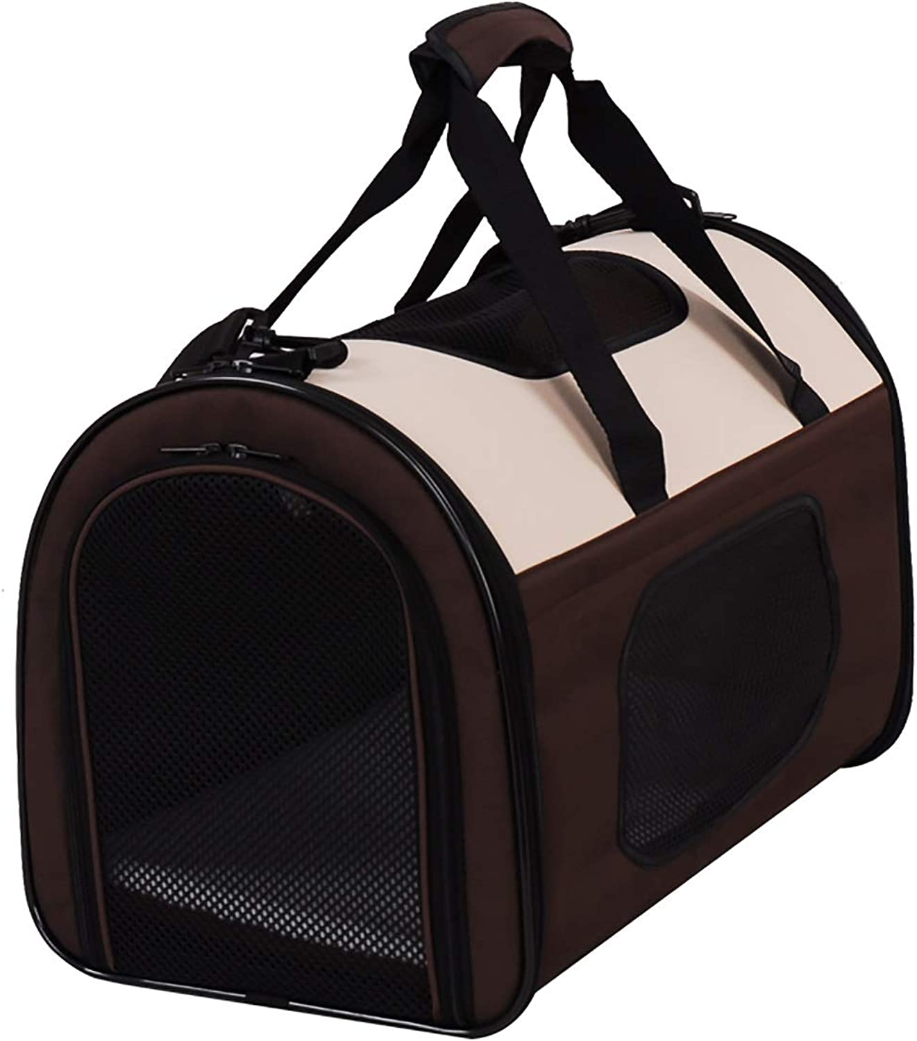 Onnear Cat and dog air pet carrier travel bag, comfortable portable collapsible pet bag airline for small dogs, cats and puppies (color   Brown, Size   M)