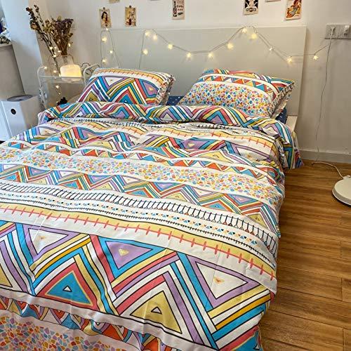 Acogedor Respirable Bedding Sets Twin Cierre De Cremallera 1duvet Cubierta 1bed Hoja 2pillowcases,Bohemio Patrón Geométrico 100% Algodón Funda Nórdica-Un Queen