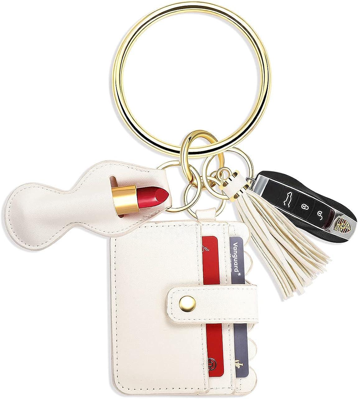Wristlet Wallet Bracelet Keychain,Card Chapstick Holder Tassel Acetate Keyring