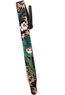 Walker & Williams LC-60 100% Hand Carved Premium Black Leather Strap With Striking Sumi-E Art Waves With Lilly Pad And Cocoon