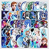50Pcs Frozen Stickers Waterproof Vinyl Stickers for Water Bottle Luggage Bike Car Decals Anna and Elsa Stickers for Kids