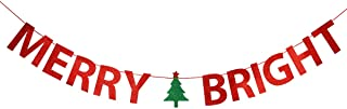 Red Glittery Merry Bright Banner- Christmas Holiday Party Decorations,Mantle Home Decor,Xmas Sign Decor