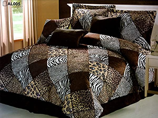Brown Black White Comforter Set Animal Print Microfur Bed In A Bag Queen Size Bedding