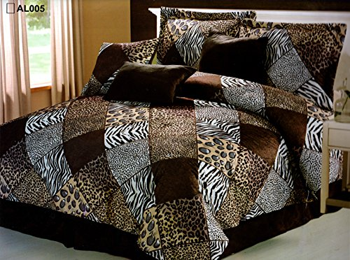 7 Piece (California) CAL KING Safari Comforter set - Zebra, Giraffe, Leopard, Tiger Etc - Multi Animal Print Bed in a Bag Brown Beige Black White Micro Fur Bedding