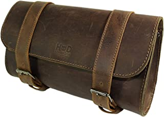 Hide & Drink, Thick Leather Motorcycle Handlebar Bag/Tool bag/Accessory Pouch/Saddle Bag, Handmade Includes 101 Year Warranty :: Bourbon Brown