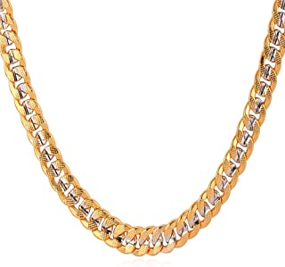 """U7 Men Unisex Two-Tone Jewelry 6mm-9mm Wide Platinum & 18K Gold Plated Cuban Chain Necklace (18"""",20"""",22"""",24"""",26"""",28"""",30"""")"""