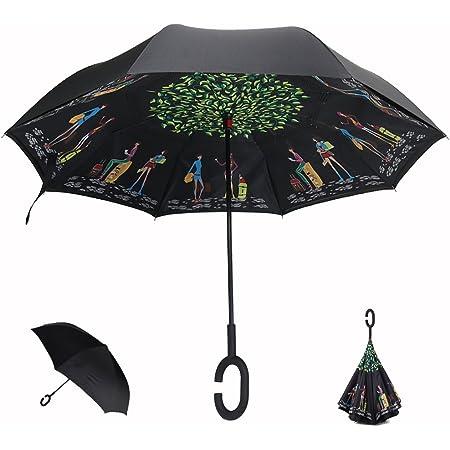 Hapahabie Parapluie invers/é double couche protection UV 84 x 22 x 28 cm coupe-vent pliable et droit avec poign/ée en forme de C