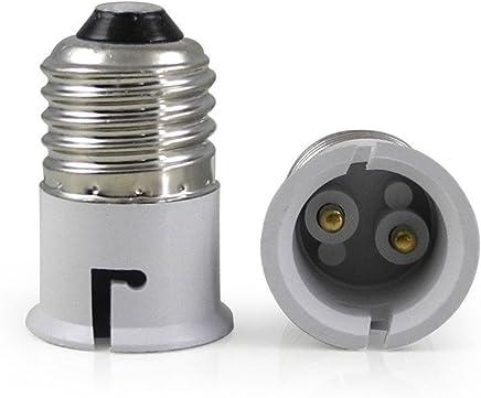 True Shopee E27 To B22 Screw Base Socket Ceramic Lamp Holder Light Bulb Adapter (White, 2-Piece)