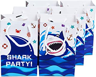 WERNNSAI Pool Shark Splash Party Supplies - 16 PCS Shark Party Gift Bags for Kids Boys Summer Ocean Under The Sea Birthday Baby Shower Picnic Party Favors