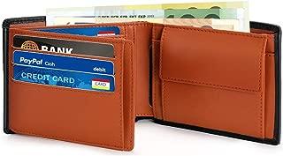Vemingo Cartera para hombre cuero genuino de vaca con bolsillo para monedas, billetes de 2 compartimentos, 12 ranuras para tarjetas de crédito con RFID Bloque para Hombre/Adolescente (Negro y Naranja)