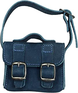 Hide & Drink, Leather Mini Messenger Bag/Coin Pouch/Cash Holder/Organizer/USB/SD Cards/Ornaments/Accessories, Handmade Includes 101 Year Warranty :: Blue Suede