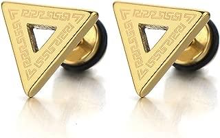 Stainless Steel Mens Triangle Stud Earrings with Greek Key Pattern, Screw Back 2pcs