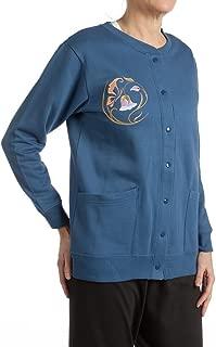 Womens Fleece Cardigan Jacket with Embroidery