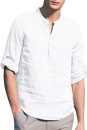 Minetom Camisa Hombre Lino Blusa Casual de Manga Larga Camisas Sin Cuello de Color Sólido Slim Fit Trabajo Shirt Suave Cómodo Transpirable