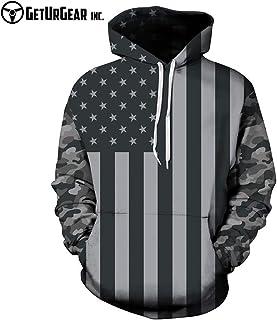 GetUrGear Men American Flag Hoodie Sweatshirt with Hood