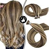 Moresoo Extensiones de Cabello Natural Queratina Pelo 100% Remy I-Tip Hair Extensions Real...