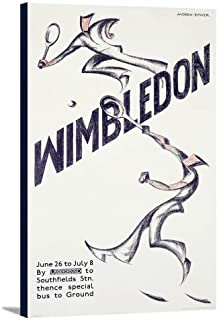 Wimbledon Vintage Poster (artist: Andrew Power) England c. 1933 (22 3/8x36 Gallery Wrapped Stretched Canvas)