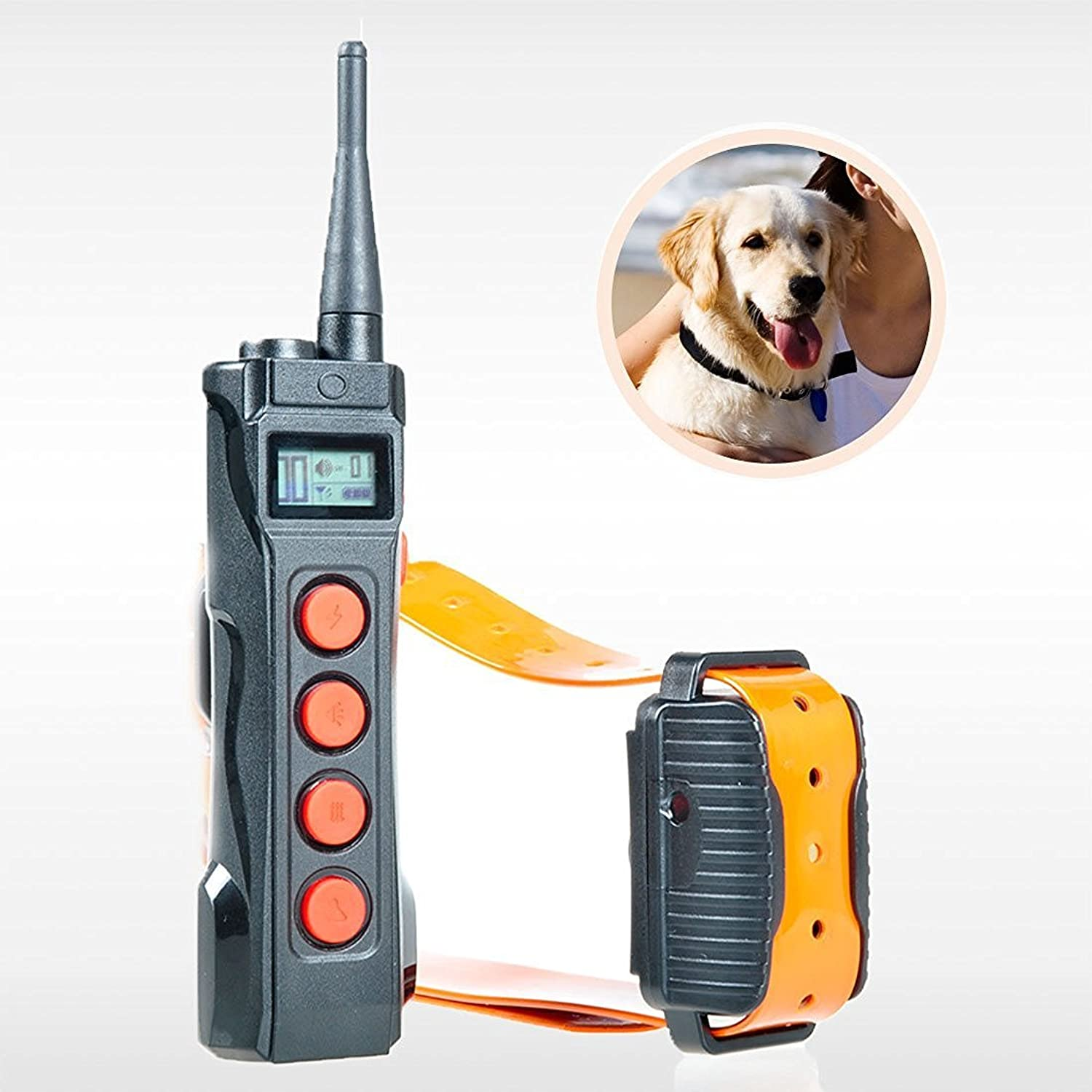 Aetertek 218C Shock Control Pet Dog Training Collar Waterproof Rechargeable LCD Remote with 10 Level of Shock + beep+Vibration 600 Yards Range (for 1 Dog)