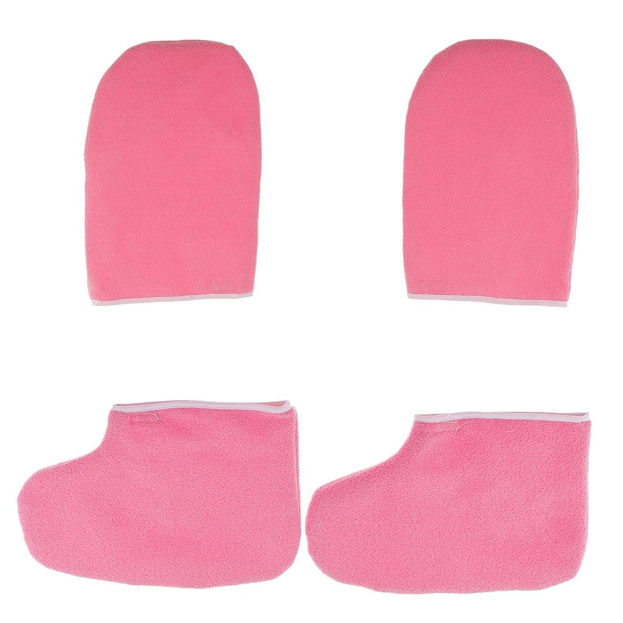 失効多数の右Hellery パラフィンワックスハンドバスグローブソックスハンドフットケア剥離デッドハードスキン - ピンク