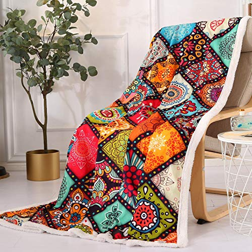 Qucover Multicolor Plaid Pattern Throws Coral Velvet Floral...