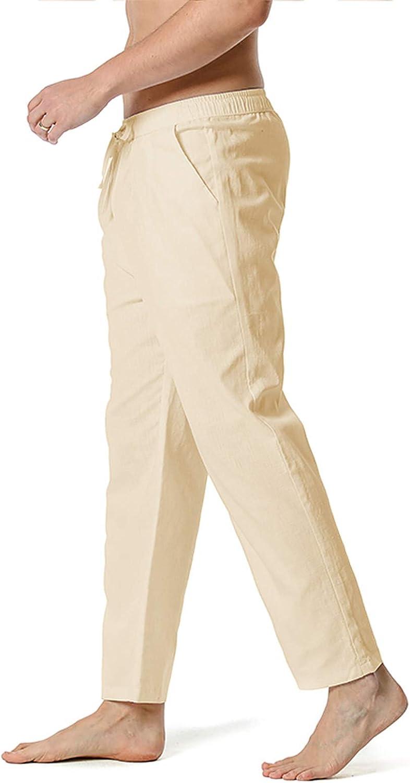 Tootom Mens Casual Linen Pants Loose Fit Straight-Legs Elastic Waist Drawstring Summer Jogger Long Pant