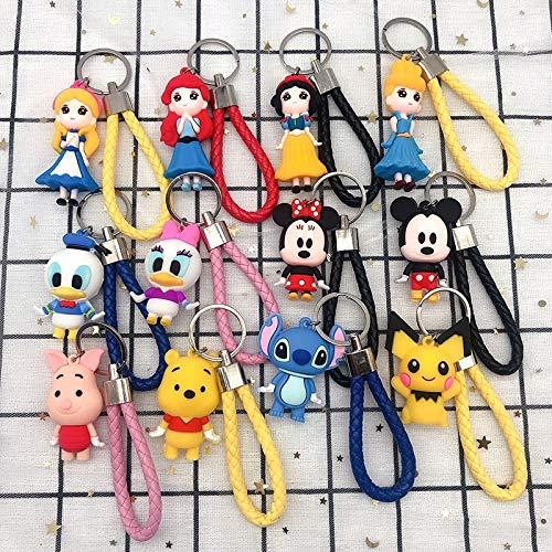 Neaer Llavero Disney Mickey Mouse Minnie Stitch llavero lindo dibujos animados blanco nieve Piglet Winnie the Pooh figuras colgante para bolsa de coche llavero llavero (color: 1)