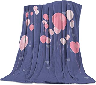 Queen Area Ultra Soft Flannel Throw Blanket Valentines Day Pink Love Heart Shaped Balloons Image Lightweight Throw fit Sofa Couch Bed Suitable for All Season 39