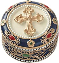 """Fashioncraft Golden Cross Rosary Box - 2.75"""" Trinket Box for Rosary Beads, Keepsakes, Small Jewelry and Mementos"""