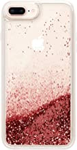 Casetify Red Glitter iPhone 8+/7+ Case with Red ScarletFloating Glitter Sparkle in Liquid Clear Back and Shockproof Drop Proof Frost Bumper and Wireless Charging Compatibility for iPhone 8+/7+