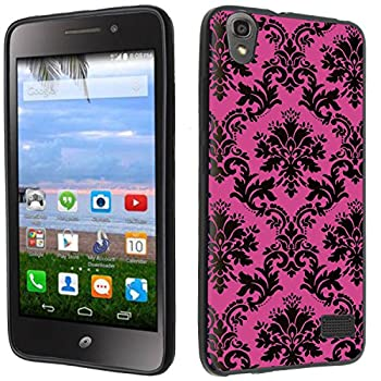 Case - [Pink Damask] Black  PaletteShield TM  Flexible TPU Gel Skin Cell Phone Cover Soft Slim Guard Protective Shell  Compatible for Huawei Pronto LTE H891L