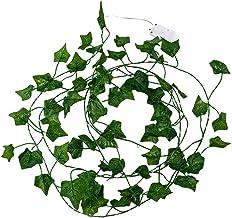 CLISPEED Simulation Green Leaf Rattan String Lights, 7. 2Ft Hanging Vines Plant Garland Silk Artificial Green Leaf Rattan ...