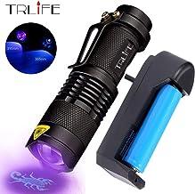 LED UV Flashlight 365nm 395nm Blacklight Scorpion UV Light Pet Urine Detector Zoomable Ultraviolet Rechargeable Outdoor Li...