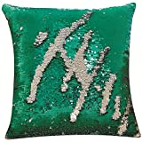 DECOSY Mermaid Pillow Cover 1 Piece 16 by 16 inches for Living Room, Freestyle Painting and Characters with Finger Running for Halloween Christmas Day, Accent Mermaid Cushion Case Couch Sofa Decor