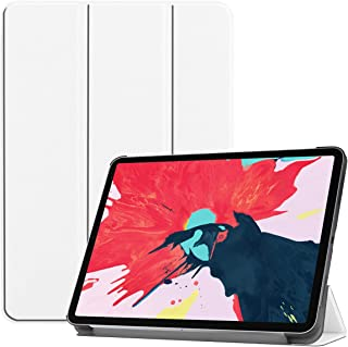 حافظة رفيعة ذكية بحامل لجهاز Apple iPad Pro 11 2018 غطاء جلدي من البولي يوريثان ذاتي السكون/الاستيقاظ ثلاثي الطي - أبيض